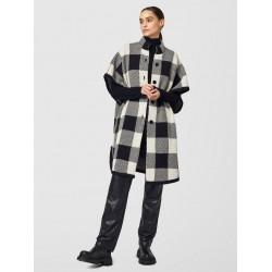 Cappa motivo check in misto alpaca e lana